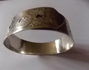 Vintage Silver Engraved Buckle Style Charles horner Bangle Bracelet