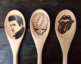 Grateful Dead Wooden Spoon Steal Your Face Jerry Garcia Dead Head Hippie Woodstock Christmas Skull Spoons Wedding Gifts Under 25