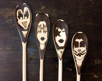 KISS Band Makeup Wooden Spoons -Set of 4- Christmas Gifts for Him Under 30 Gene Simmons Ace Frehley Spaceman Paul Stanley Peter Criss