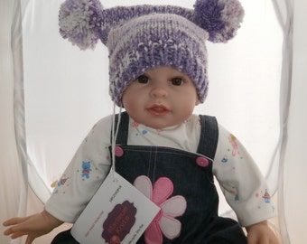 Baby lilac double pompom knitted  hat age 6-12 months.