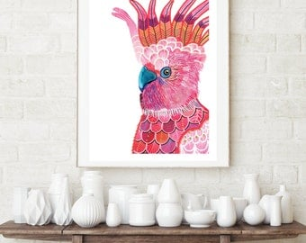 Watercolour print-PINK PARROT all sizes