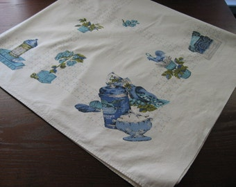 Blue and White Square Tablecloth 45 Inch Vintage