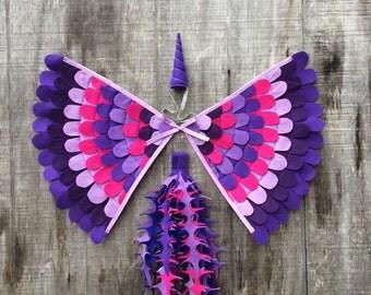 UNICORN COSTUME // 3 Piece Set // Wings, horn & tail // Purple Unicorn  // fun flying adventures // Tree + Vine