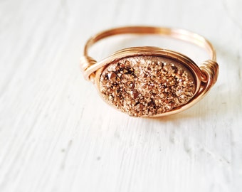 Rose Druzy Oval Statement Ring