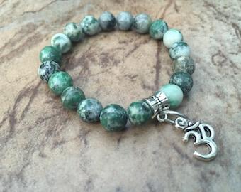 Moss Agate Stretch Bracelet, OM Stretch Bracelet, Hippie Stretch Bracelet, Yoga Jewelry