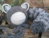 Raccoon Hand Knitted Bonnet and Tail Newborn Woodland Photo Prop NB. custom Order for Belinda