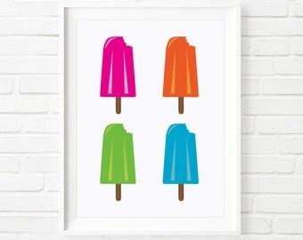 Ice cream print, Ice lolly, kids prints, Scandinavian art, children's print, summer print, nursery decor, kids decor, kids printable, 8x10