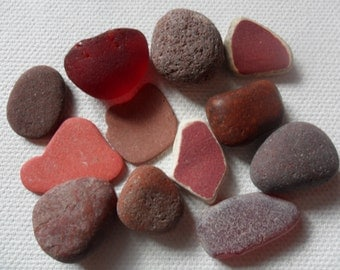 Seaham collection of RED sea glass, pottery, pebbles & tile shards - 12 Lovely English beach finds
