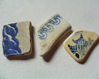 3 blue and white sea pottery - lovely English beach find pieces
