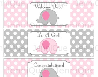 Printable Elephant Baby Shower Water Bottle Labels, It's A Girl, Welcome Baby, Congratulations, Printable Water Bottle Labels, Pink