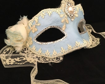 Something Blue Bridal Brilliance - Custom Venetian Mask