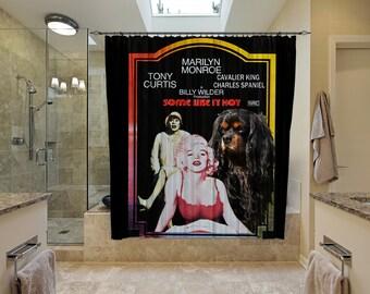 Cavalier King Charles Spaniel Art Shower Curtain, Dog Shower Curtains, Bathroom Decor - Some Like It Hot Movie Poster