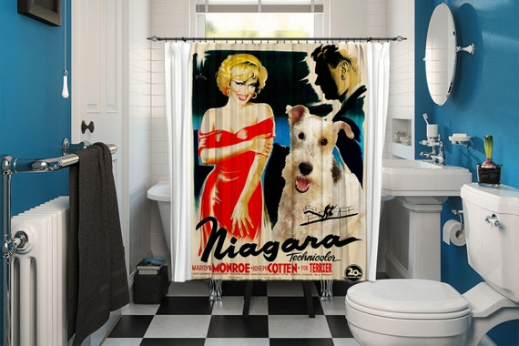Fox Terrier Wire Art Shower Curtain, Dog Shower Curtains, Bathroom Decor - NIAGARA Movie Poster by Nobility Dogs