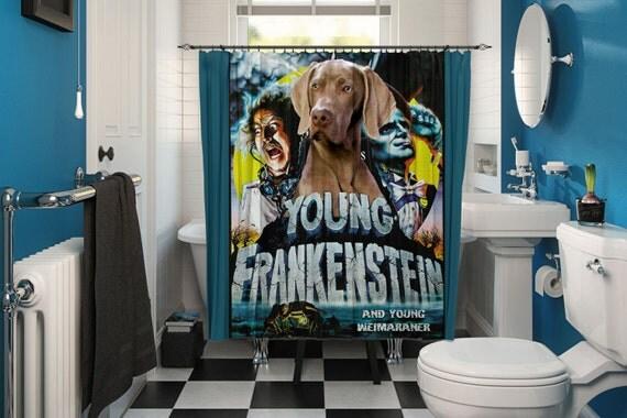 Weimaraner Art Shower Curtain, Dog Shower Curtains, Bathroom Decor - Young Frankenstein Movie Poster by Nobility Dogs