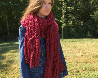 Oversized Crochet Scarf Super Long Lush Shawl Wrap PDF Pattern Instant Download