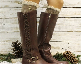 Brown Nordic Lace Boot Sock |  tall sock made in usa, tweed socks, ruffle socks, country, boho, rustic, winter style, leg warmers | BKS2BL