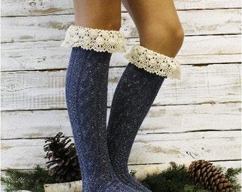 Mountain lace boot sock in Vintage Blues Tweed knit,  Boot socks tall boot socks leg warmers,  knee socks womens lace socks  | BKS6
