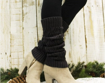 Leg Warmers, WINTER, black friday, cyber monday, sale, gifts, christmas, , knit, knitted, women, slouch, boots, cuffs, Dark Grey | LW0