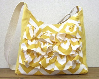Chevron Ruffle Yellow Shoulder Bag / bags n purses/accessories/trending items - One ready to ship