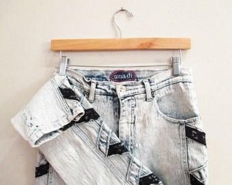 Vintage 80s Jeans | Black Lace Inserts 80s Acid Wash Jeans | size small - medium