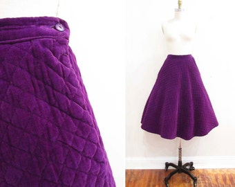 Vintage 1950s Skirt | Deep Purple Quilted Velvet 1950s Circle Skirt | size small