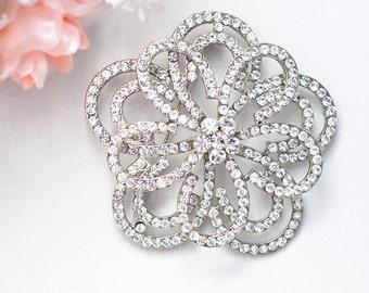 SALE Crystal bridal flower brooch , head piece
