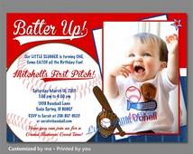 First Birthday Baseball Invitation, Baseball Birthday Invitations, Batter Up Invitation, Little Slugger Photo Birthday Invitation