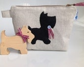 Linen Look Fabric Cosmetic Purse with Scottie Dog & Royal Stewart Tartan Trim- Handmade in Scotland