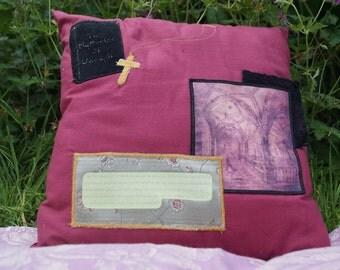 Jane Austen Pillow. Northanger Abbey Quote. Dark Red Cotton Cushion