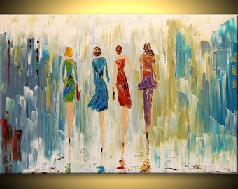Four in the City Cityscape Fine Art deco Impasto texture Palette knife figure women oil Painting by IraSher