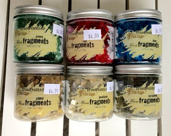 Stampendous Mica Fragments in green, red, blue, pearlized, tarnished, or gilded, Frontage, 0.46 oz. jar, for mixed media, art journaling