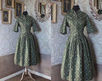 Vintage 1950's Green Paisely Print Cotton Two Piece Skirt and Top M/L