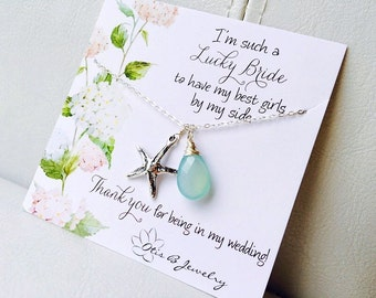 Starfish Y necklaces, custom gemstone necklaces, bridesmaid gifts, lariats, necklaces gift set, destination wedding, otis b