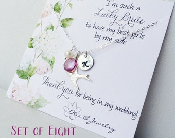 Bridesmaid gift set of EIGHT Bridesmaid thank you cards with silver bird necklaces, personalized birthstone necklaces, bridesmaid cards