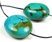 Natural Genuine Hu-Bei Turquoise Chubby Freeform Pendant Pair - 22mm x 18mm - 2 Pieces - B5016