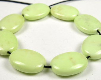 Lemon Chrysoprase Small Oval Bead - 15.5mm x 11.5mm x 4.5mm - 8 Pieces - B5105