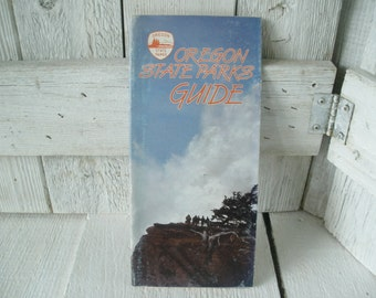 Vintage Oregon State Parks guide map camping fishing hiking folded 1985- free shipping US
