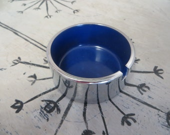 Maru Trend Pacific Isamu Kenmochi Chrome Ashtray Modern Ashtray Trinket Dish Cobalt Blue Chrome Modern Decor Silver and Blue Cigarette Tray