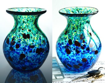Hand Blown Glass Vase - Impressionistic Blue and Green with Ruby Dots