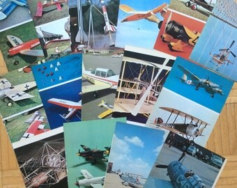Vintage Book Pages, Model Aircraft, Colored, Ephemera, Old Paper, Wall Art, 1970's