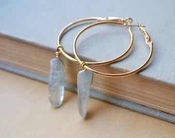 Ice Blue Crystal Quartz Gold Hoop Earrings