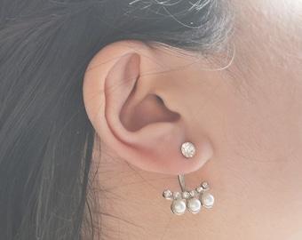 White Pearl Ear Jacket Earrings