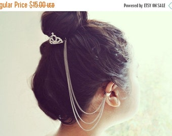 VALENTINES DAY SALE Silver Crown Hair Comb Ear Cuff Chain Headpiece Gypsy Boho Harness Bohemian Hair Jewelry Chain Hair Comb Earring