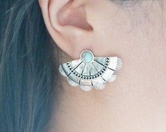 Silver Armor Fan Turquoise Earrings