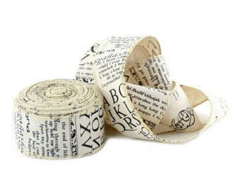 Wide Ribbon Newspaper Print Fabric 5 yards