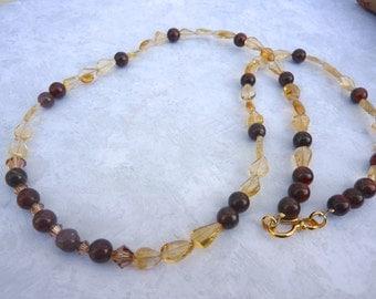 Citrine Tiger Eye Necklace, Semi-Precious Necklace, November Birthstone Necklace