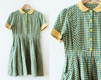 1940s Plaid Cotton and Linen Dress / 1940s Dress / Pleated Dress / Petite 1940s Dress / Green and Yellow / Peter Pan Collar Dress / XS