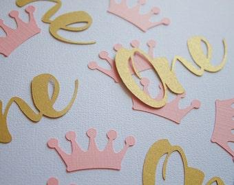 pink and gold first birthday confetti, princess confetti, one confetti