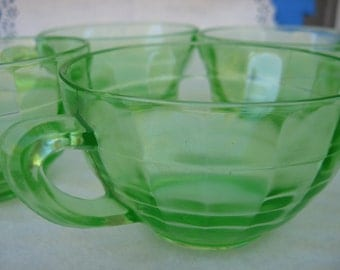 "Set of 6, Hocking Glass Company Green ""Block Optic"" Cups with Plain Handle"