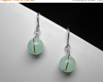 Aqua Chalcedony Earrings in Silver, 8 mm